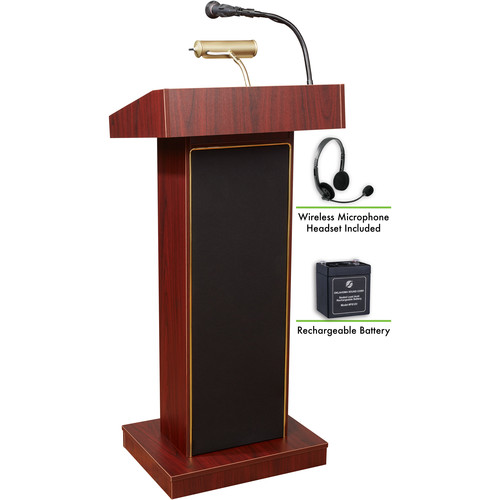 Oklahoma Sound The Orator Lectern with Rechargeable Battery & Wireless Headset Mic (Mahogany)