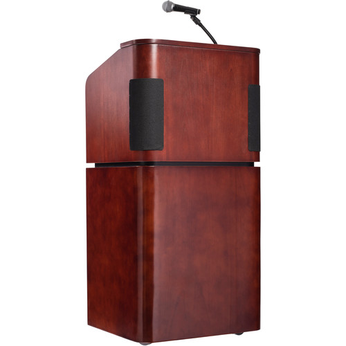 Oklahoma Sound Tabletop & Base Combo Sound Lectern with Rechargeable Battery & Tie Clip Lavalier Wireless Mic (Mahogany/Walnut)
