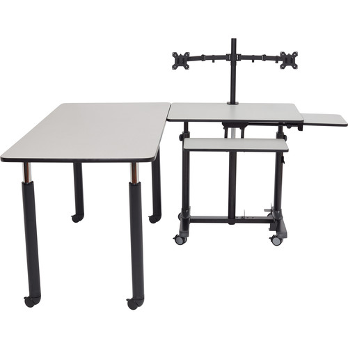 Oklahoma Sound Nps Sit + Stand Teachers Desk Kit - Rectangle Table - Adjustable Height Legs - Casters