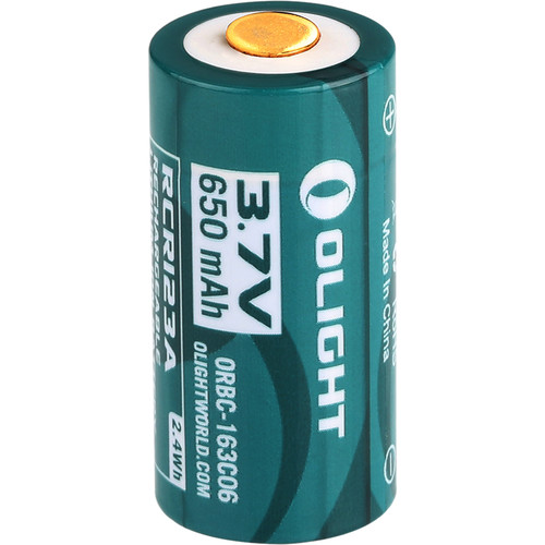 Olight 16340 Lithium-Ion Battery with Micro-USB Charging Port (3.7V, 650mAh)