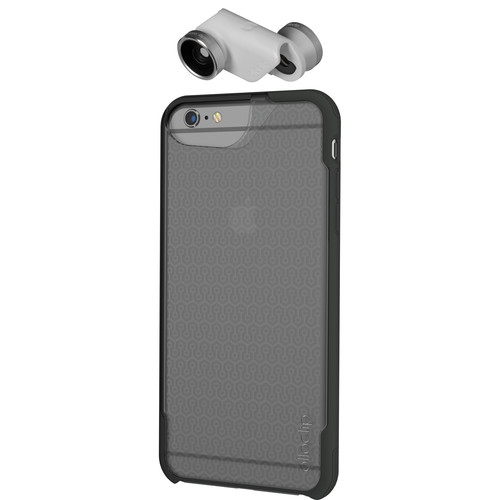 olloclip 4-in-1 Photo Lens + OLLOCASE for iPhone 6 Plus/6s Plus (Silver Lens with White Clip & Clear and Gray Case)