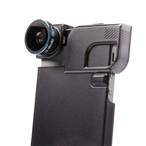 olloclip 4-in-1 Photo Lens for iPhone 5/5s + Quick-Flip Case (Black Lens with Black Clip & Translucent Black Case)