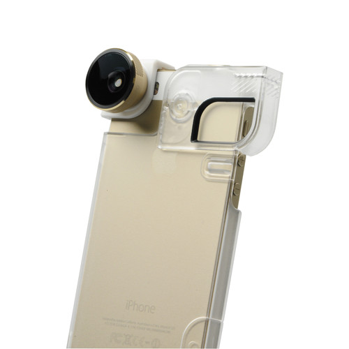 olloclip 4-in-1 Photo Lens for iPhone 5/5s + Quick-Flip Case (Clear Case / Gold Lens)
