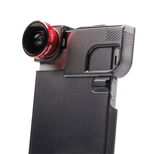olloclip 4-in-1 Photo Lens for iPhone 5/5s + Quick-Flip Case (Red Lens with Black Clip & Translucent Black Case)