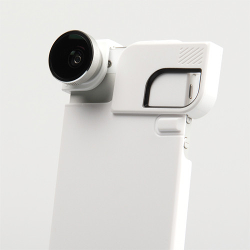 olloclip 4-in-1 Photo Lens for iPhone 5/5s + Quick-Flip Case (Silver Lens with White Clip & White Case)