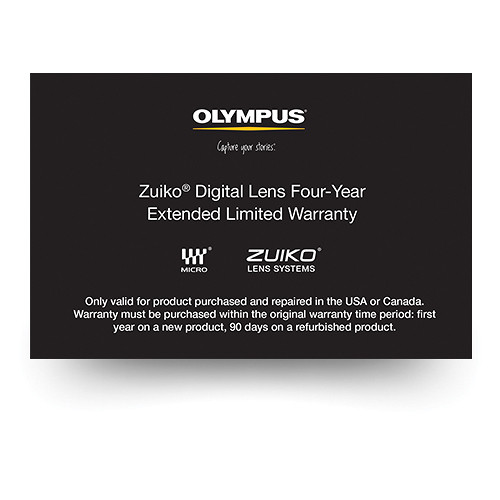 Olympus Zuiko Digital Lens 4-Year Extended Limited Warranty