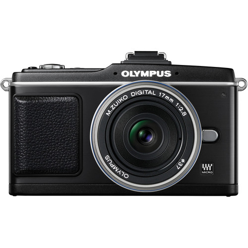 Olympus E-P2 Pen Digital Camera (Black) w/ M.Zuiko Digital 17mm f/2.8 Lens (Silver)