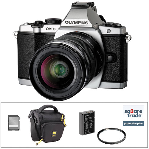 Olympus OM-D E-M5 Mirrorless Micro Four Thirds Digital Camera Deluxe Kit with 12-50mm Lens (Silver)