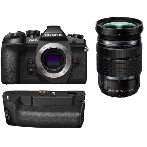Olympus OM-D E-M1 Mark II Mirrorless Micro Four Thirds Digital Camera with 12-100mm Lens and Battery Grip Kit