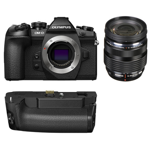 Olympus OM-D E-M1 Mark II Mirrorless Micro Four Thirds Camera with 12-40mm f/2.8 Lens and Battery Grip Kit