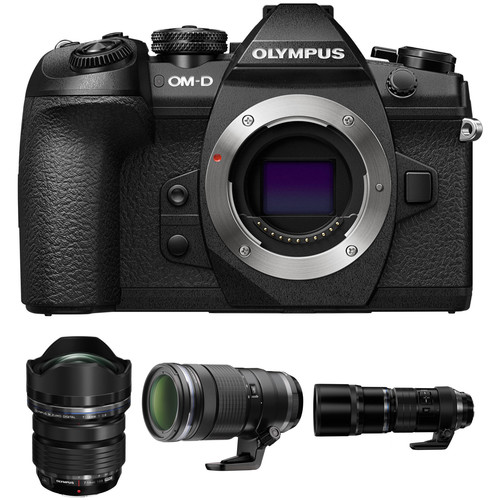 Olympus OM-D E-M1 Mark II Mirrorless Digital Camera with M.Zuiko 7-14mm, 40-150mm, and 300mm PRO Lenses Kit