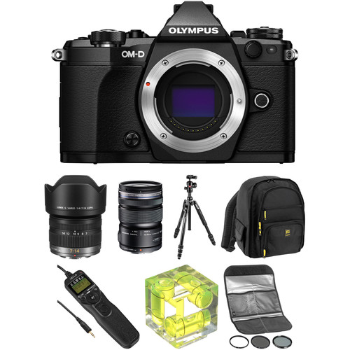 Olympus OM-D E-M5 Mark II Mirrorless Micro Four Thirds Digital Camera with 7-14mm and 12-50mm Lenses Landscape Kit (Black)