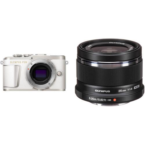 Olympus PEN E-PL9 Mirrorless Digital Camera with 25mm f/1.8 Lens Kit (White Camera/Black Lens)