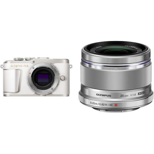 Olympus PEN E-PL9 Mirrorless Digital Camera with 25mm f/1.8 Lens Kit (White Camera/Silver Lens)