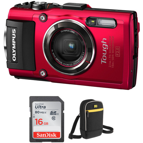 Olympus Stylus TOUGH TG-4 Digital Camera Basic Kit (Red)