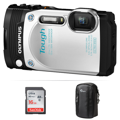 Olympus Stylus TOUGH TG-870 Digital Camera Basic Kit (White)