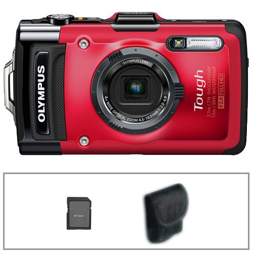 Olympus Tough TG-2 iHS Digital Camera Basic Kit (Red)