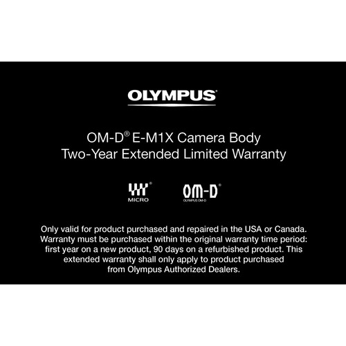 Olympus Warranty Extension : 2-Year : OM-D E-M1X