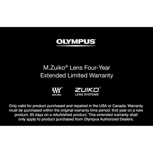 Olympus Warranty Extension : 4-Year : M.Zuiko Lens