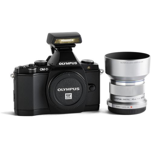 Olympus OM-D E-M5 Mirrorless Digital Camera and M. Zuiko 45mm f/1.8 Lens Premium Edition Bundle