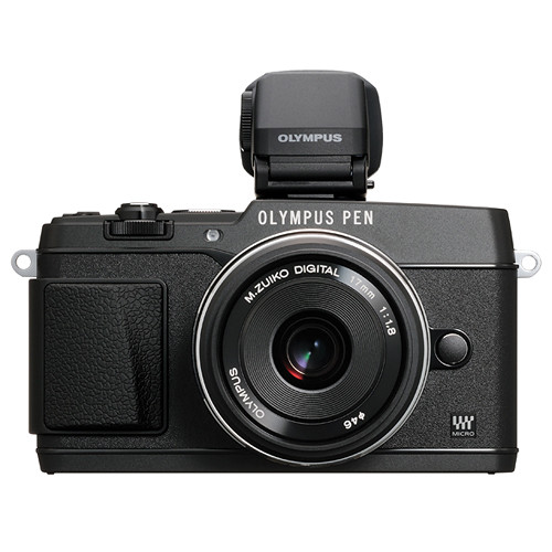 Olympus PEN E-P5 Mirrorless Micro Four Thirds Digital Camera with 17mm f/1.8 Lens and VF-4 Viewfinder (Black)