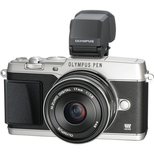 Olympus PEN E-P5 Mirrorless Micro Four Thirds Digital Camera with 17mm f/1.8 Lens and VF-4 Viewfinder (Silver)