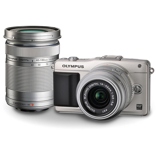 Olympus E-PM2 Mirrorless Micro Four Thirds Digital Camera with 14-42mm and 40-150mm Lenses Kit (Silver)