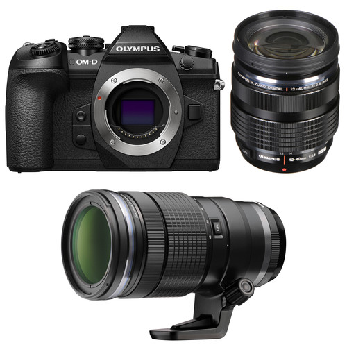 Olympus OM-D E-M1 Mark II Mirrorless Micro Four Thirds Digital Camera with 12-40mm and 40-150mm Lenses Kit