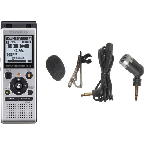 Olympus WS-852 Digital Voice Recorder and ME-52W Microphone Kit (Silver)