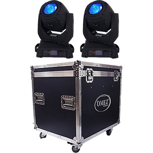 OMEZ TitanBeam 2R Moving Head Beam LED Fixture with Dual 2R Case (2-Pack)