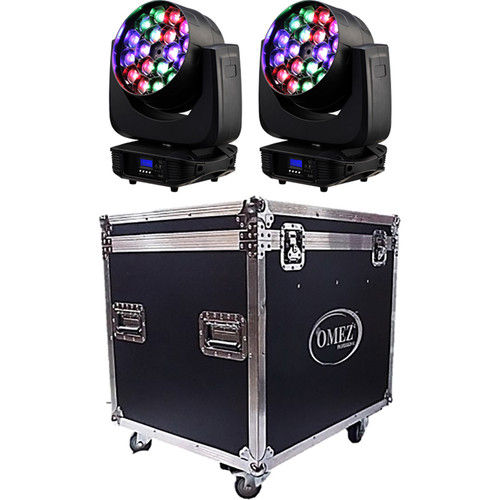 OMEZ Two TitanWash Matrix4 Moving Head LED Wash Fixtures with Road Case