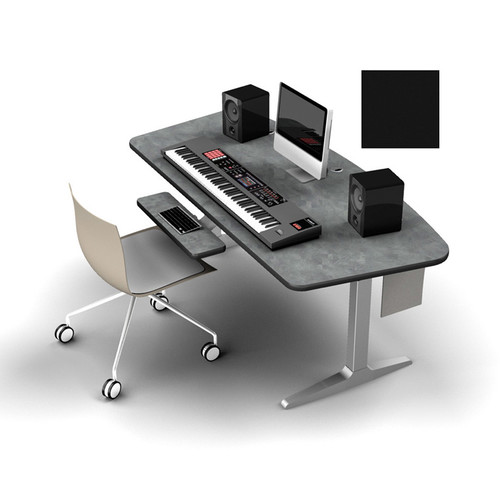 Omnirax Adjustable Height Workstation with Charcoal Workrite Electric Base  (Black)