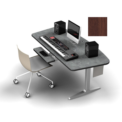Omnirax Adjustable Height Workstation with Charcoal Workrite Electric Base (Mahogany)
