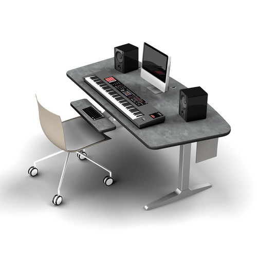 Omnirax Adjustable Height Workstation with Charcoal Workrite Electric Base (Pewter Brush)