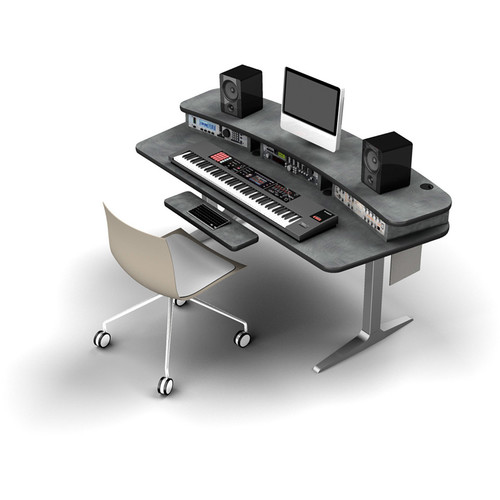 Omnirax BT Workstation with 6-Rack Space Riser and Silver Height-Adjustable Workrite Sierra HX Electric Base
