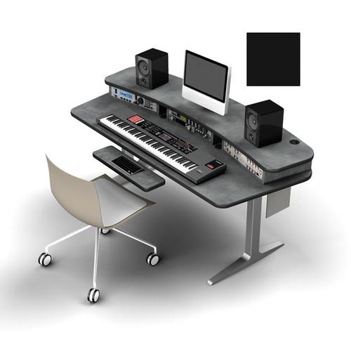 Omnirax Adjustable Height Workstation with 6-Rack Space Riser, Silver Workrite Electric Base (Black)