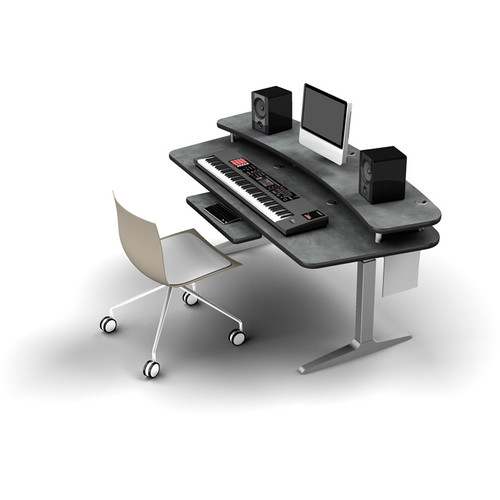 Omnirax BT Workstation with Riser Shelf and Charcoal Height-Adjustable Workrite Sierra HX Electric Base