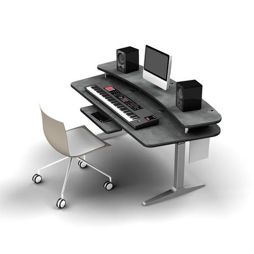 Omnirax Adjustable  Height Workstation with Riser Shelf, Charcoal Workrite Electric Base (Pewter Brush)