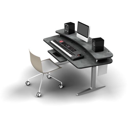 Omnirax BT Workstation with Riser Shelf and Silver Height-Adjustable Workrite Sierra HX Electric Base