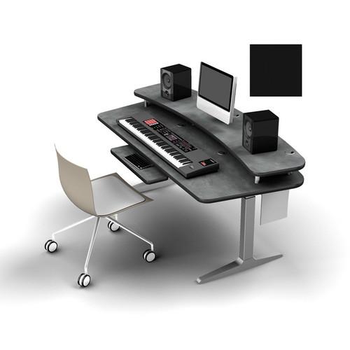 Omnirax Adjustable  Height Workstation with Riser Shelf, Silver Workrite Electric Base (Black)