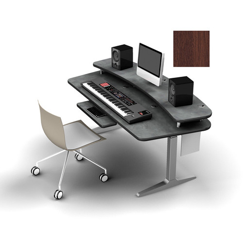 Omnirax Adjustable  Height Workstation with Riser Shelf, Silver Workrite Electric Base (Mahogany)