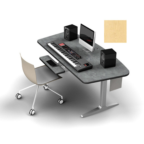 Omnirax Adjustable Height Workstation with Silver Workrite Electric Base (Maple)