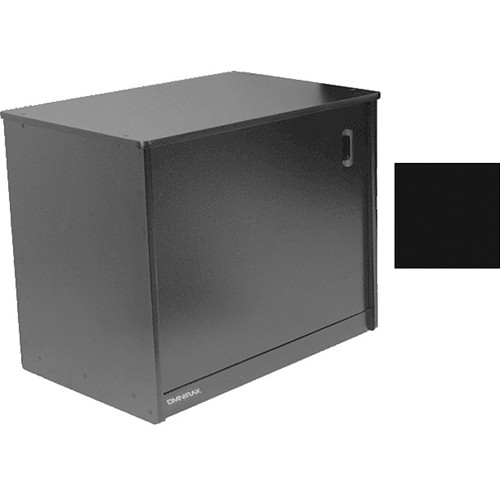 Omnirax 14 Space Rack Cabinet And Computer Cubby With Door (Black Melamine)