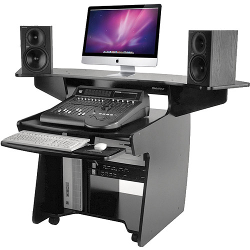 Omnirax Coda Mixing and Digital Editing Workstation Desk (Black Melamine)
