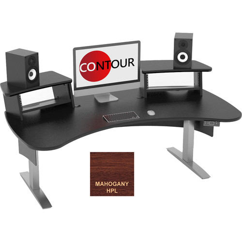 Omnirax Contour Series Motorized Adjustable Height Workstation (6' Wide, Mahogany)