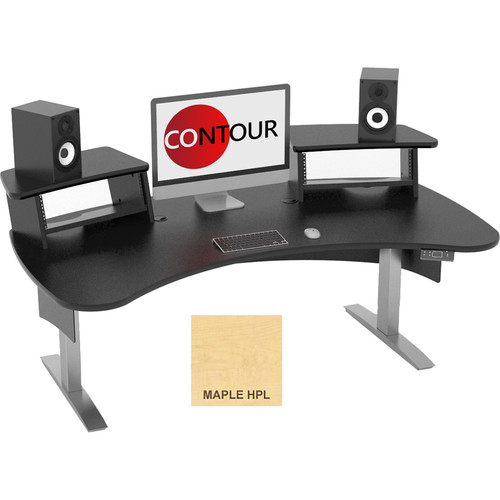 Omnirax Contour Series Motorized Adjustable Height Workstation (6' Wide, Maple)