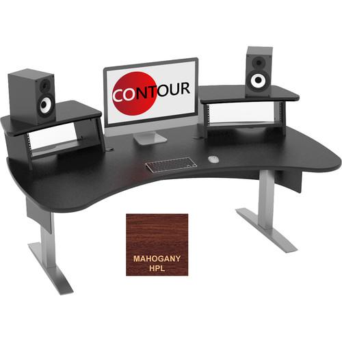 Omnirax Contour Series Fixed Height Workstation (6' Wide, Mahogany)