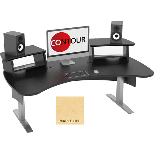 Omnirax Contour Series Fixed Height Workstation (6' Wide, Maple)