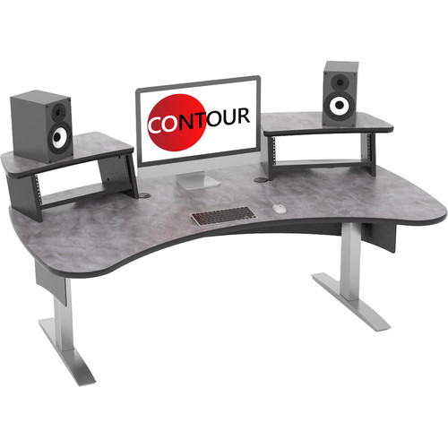 Omnirax Contour Series Fixed Height Workstation (6' Wide, Pewter Brush)