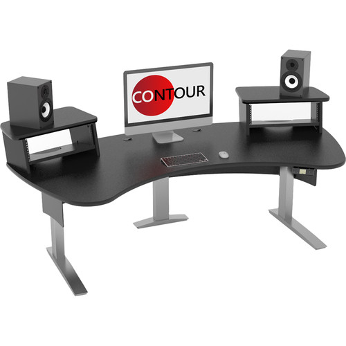 Omnirax Contour Series Motorized Adjustable Height Workstation (7' Wide, Black)